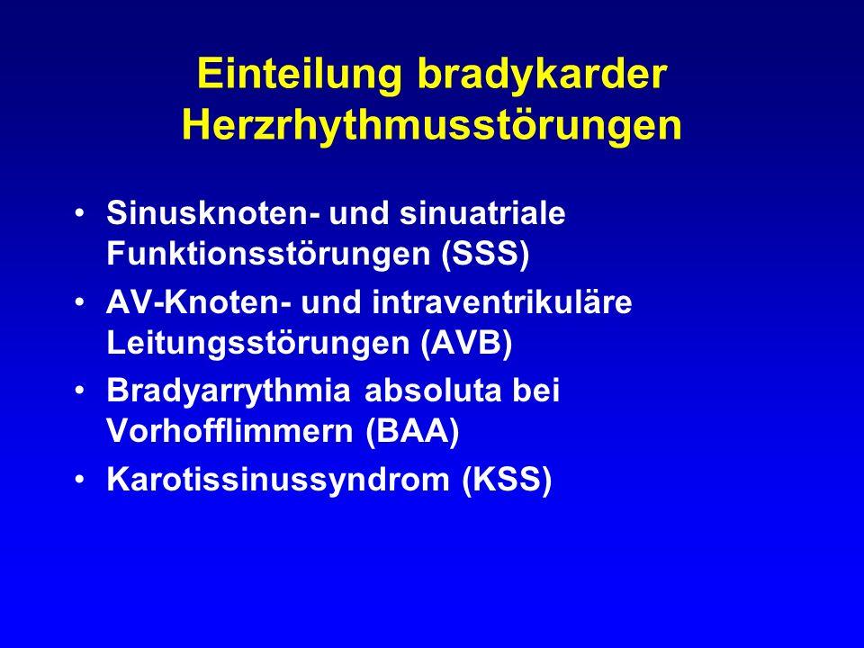 Einteilung bradykarder Herzrhythmusstörungen Sinusknoten- und sinuatriale Funktionsstörungen (SSS) AV-Knoten- und intraventrikuläre Leitungsstörungen