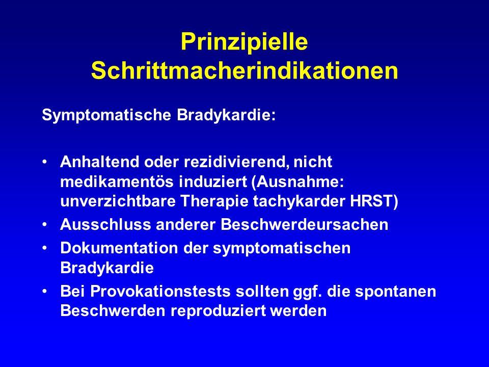 Symptome bei bradykarden Rhytmusstörungen Synkope, Kollaps, Adams-Stokes-Anfall Schwindelbeschwerden Herzinsuffizienz Angina pectoris Belastungseinschränkung Symptome cerebraler Minderperfusion