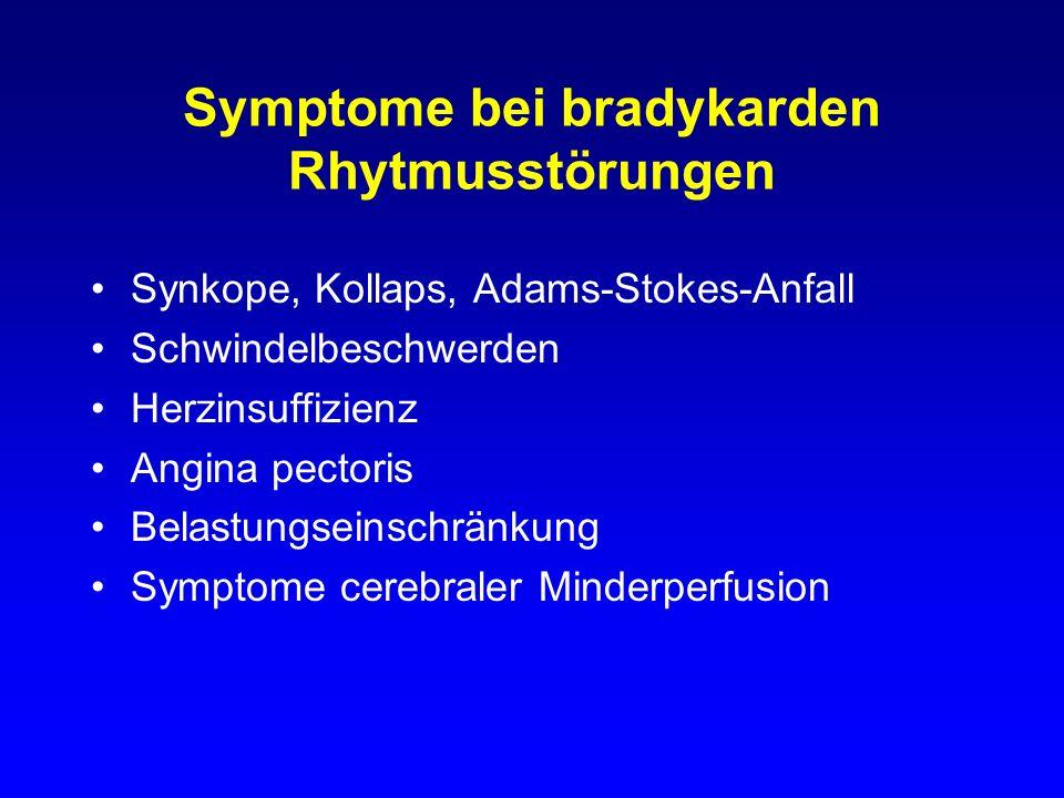 Symptome bei bradykarden Rhytmusstörungen Synkope, Kollaps, Adams-Stokes-Anfall Schwindelbeschwerden Herzinsuffizienz Angina pectoris Belastungseinsch
