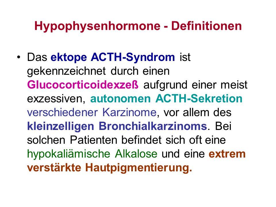 Hypophysenhormone - Definitionen Das ektope ACTH-Syndrom ist gekennzeichnet durch einen Glucocorticoidexzeß aufgrund einer meist exzessiven, autonomen