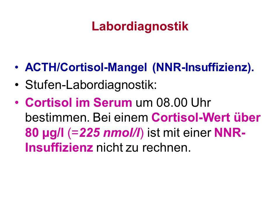 Labordiagnostik ACTH/Cortisol-Mangel (NNR-Insuffizienz). Stufen-Labordiagnostik: Cortisol im Serum um 08.00 Uhr bestimmen. Bei einem Cortisol-Wert übe