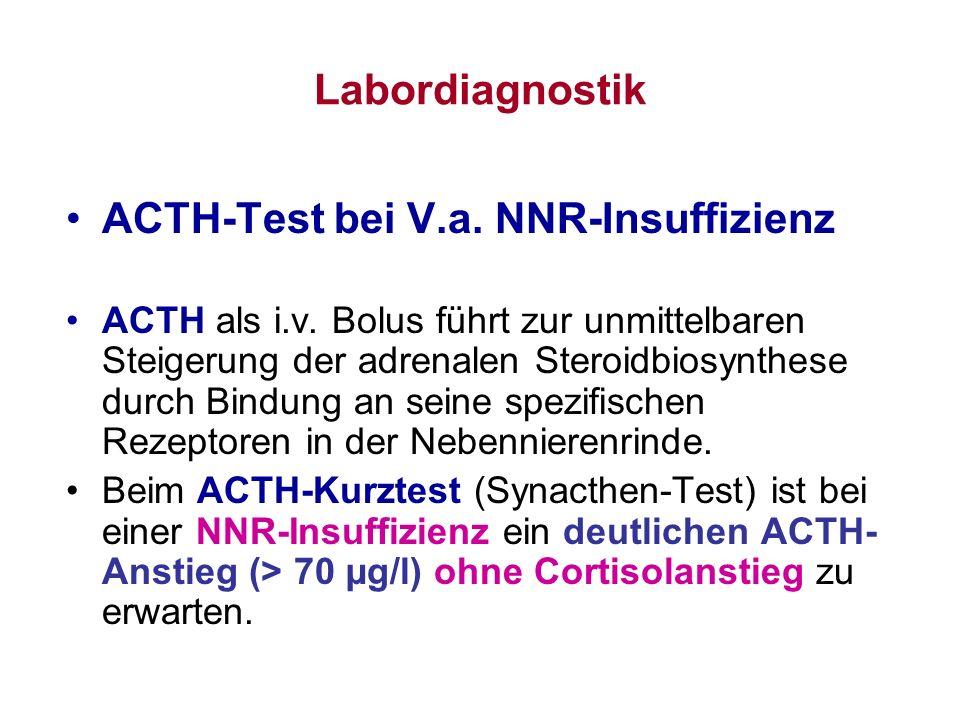 Labordiagnostik ACTH-Test bei V.a. NNR-Insuffizienz ACTH als i.v. Bolus führt zur unmittelbaren Steigerung der adrenalen Steroidbiosynthese durch Bind