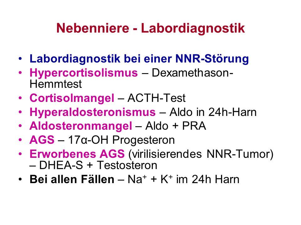 Nebenniere - Labordiagnostik Labordiagnostik bei einer NNR-Störung Hypercortisolismus – Dexamethason- Hemmtest Cortisolmangel – ACTH-Test Hyperaldoste