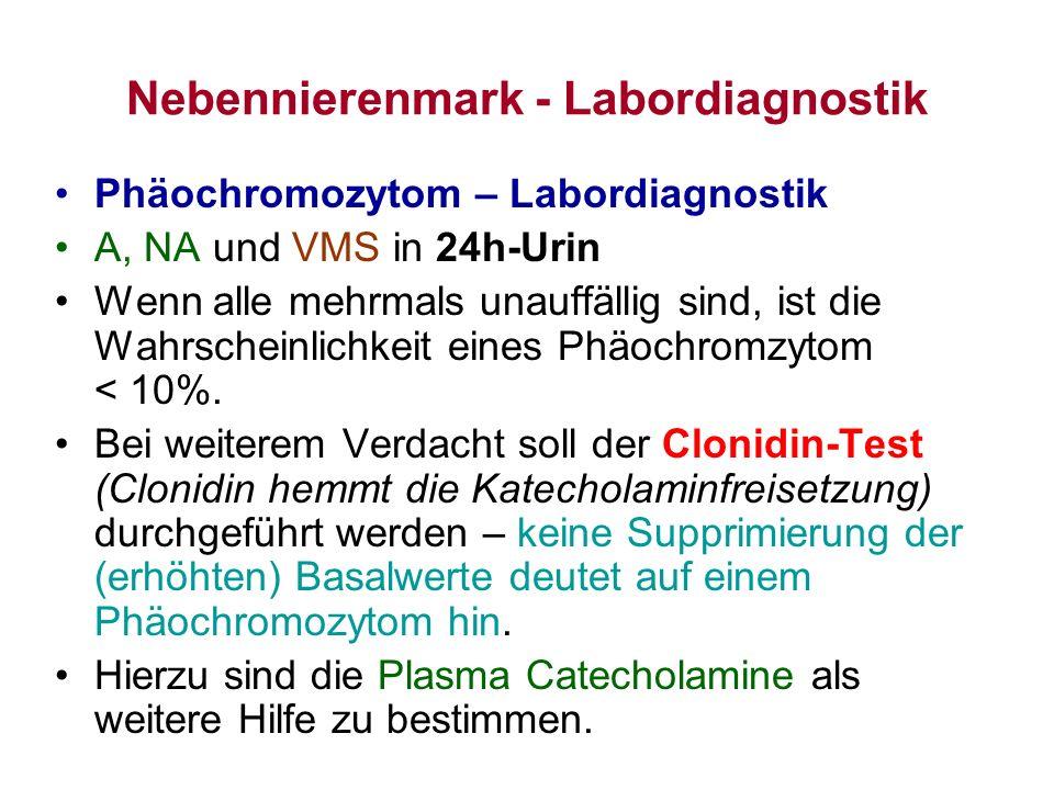 Nebennierenmark - Labordiagnostik Phäochromozytom – Labordiagnostik A, NA und VMS in 24h-Urin Wenn alle mehrmals unauffällig sind, ist die Wahrscheinl