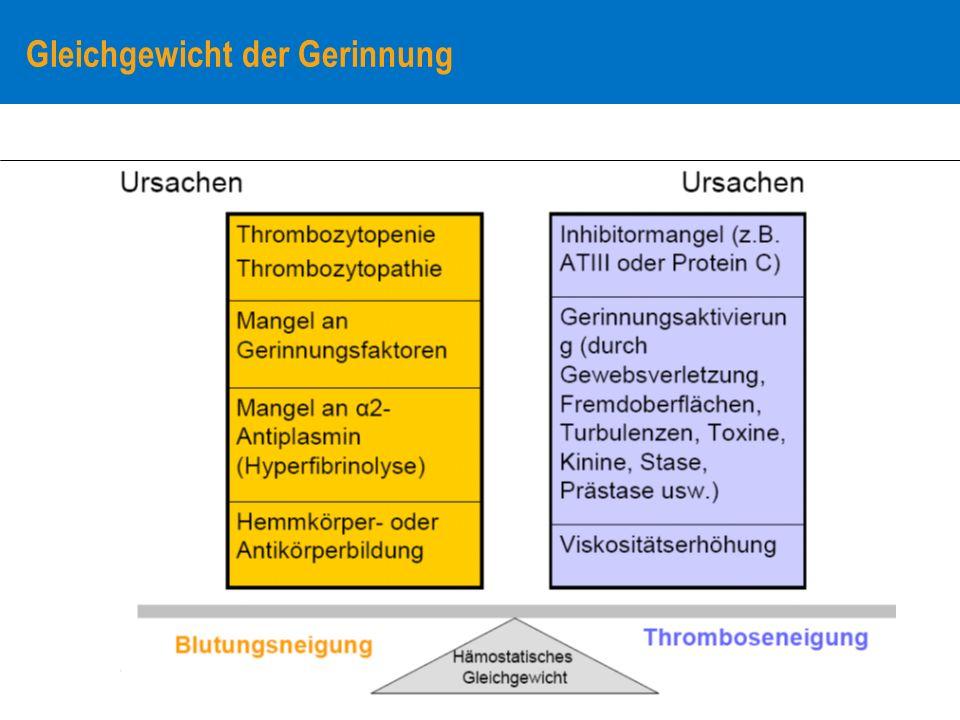 Diagnosegang: Hämorrhagische Diathese Hämostaseologische Labordiagnostik (Stufendiagnostik) Basisdiagnostik zur Erfassung von Störungen: (Gefäßsystem) – (Rumpel-Leede-Stauungstest) Thrombozyten – Thrombozytenzahl – Blutungszeit Plasmatisches Gerinnungssystem – Phasentests (Suchtests) Quick (TPZ), aPTT, Fibrinogen, PTZ Weiterführende (spezielle) Diagnostik (abhängig von Leitbefunden aus der Basisdiagnostik, klinische Fragestellung):