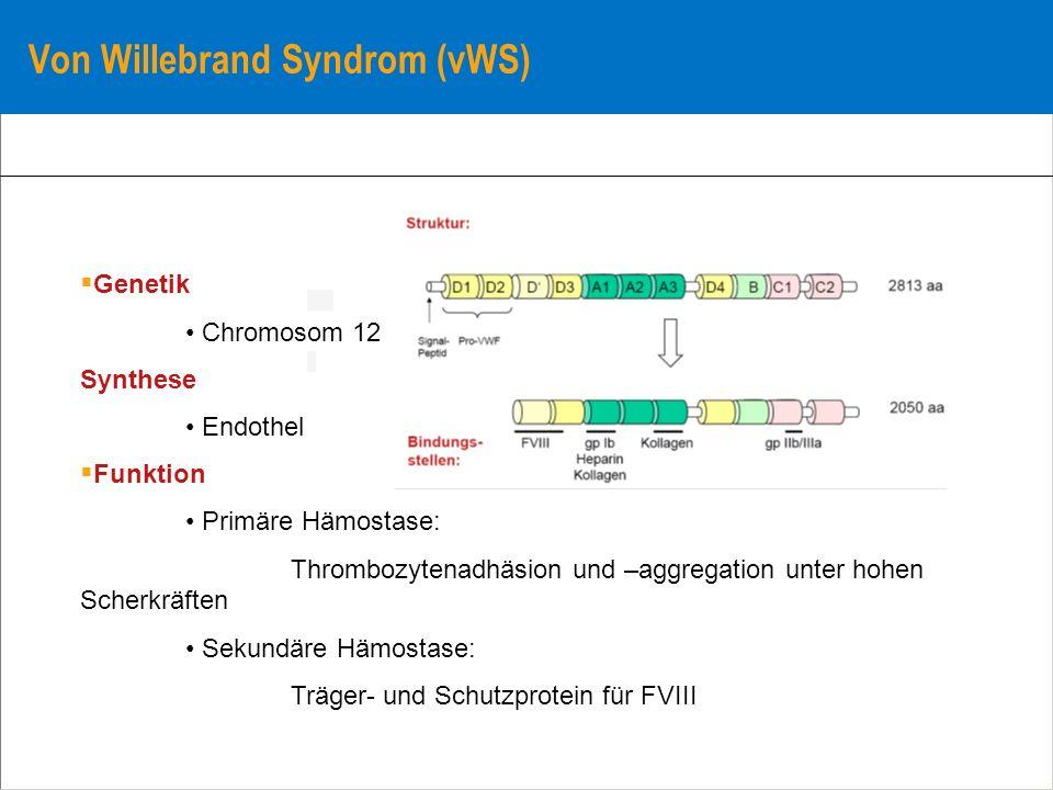 Von Willebrand Syndrom (vWS) Genetik Chromosom 12 Synthese Endothel Funktion Primäre Hämostase: Thrombozytenadhäsion und –aggregation unter hohen Sche