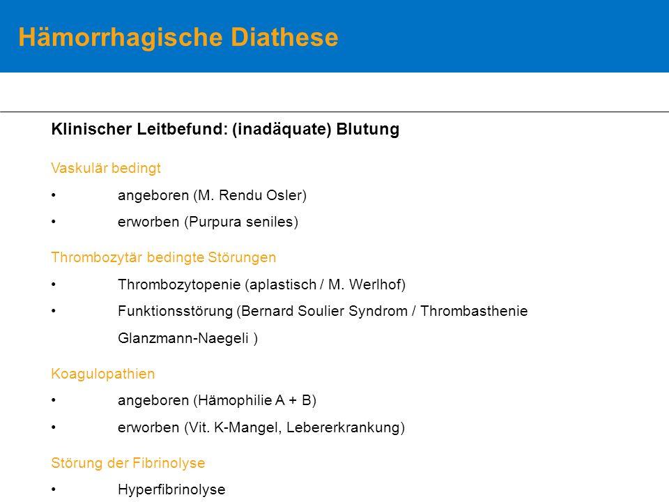 Hämorrhagische Diathese Klinischer Leitbefund: (inadäquate) Blutung Vaskulär bedingt angeboren (M.