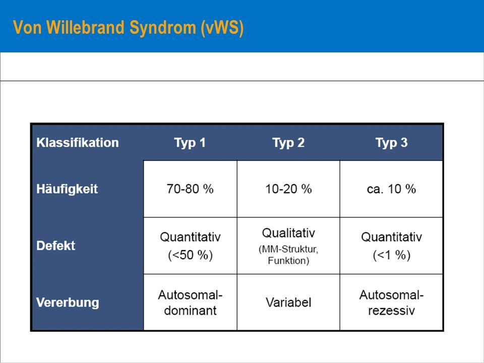 Von Willebrand Syndrom (vWS)