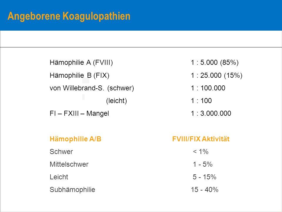Angeborene Koagulopathien Hämophilie A (FVIII) 1 : 5.000 (85%) Hämophilie B (FIX) 1 : 25.000 (15%) von Willebrand-S. (schwer) 1 : 100.000 (leicht) 1 :