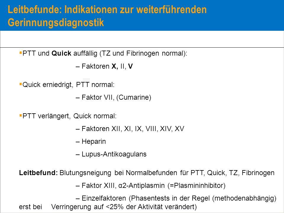 Leitbefunde: Indikationen zur weiterführenden Gerinnungsdiagnostik PTT und Quick auffällig (TZ und Fibrinogen normal): – Faktoren X, II, V Quick ernie