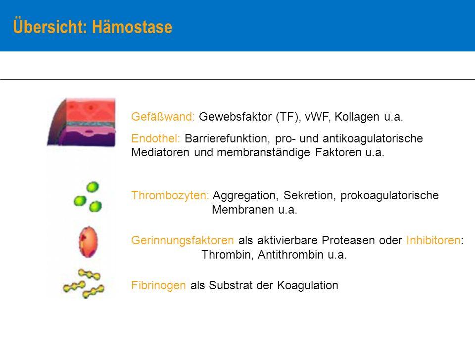 Kenngröße: Fibrinogen im Plasma medizinische Beurteilung Referenzbereich: 2,0 – 3,5 g/l diagnostische Wertigkeit Hypofibrinogenämie bei angeborenen Synthesestörungen mit Blutungsneigung erniedrigt bei Lebersynthesestörung stark erniedrigt bei Verbrauchskoagulopathie, gesteigerter Fibrinolyse, z.B.