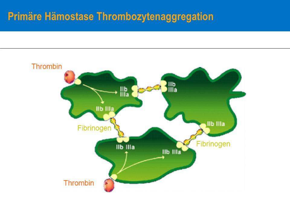 Thrombozytopathie: Ursachen Hereditär: Störungen der Adhäsion (Bernard-Soulier, Gp Ib/V/IX) Störung der Aggregation (Glanzmann, Gp IIb/IIIa) Störung der Sekretion (Storage-Pool-Disease) Platelet-type VWS (Gp Ib/V/IX) Erworben: Medikamente (Cyclooxigenasehemmer: ASS, ADP-Rezeptorantagonisten: Clopidogrel, Gp IIb/IIIa-Antagonisten (z.B.ReoPro) extrakorporale Zirkulation chronische Niereninsuffizienz Hämatologische Erkrankungen