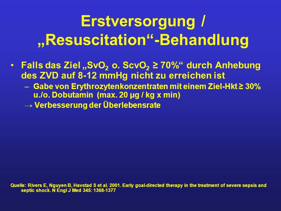 Erstversorgung / Resuscitation-Behandlung Falls das Ziel SvO 2 o. ScvO 2 70% durch Anhebung des ZVD auf 8-12 mmHg nicht zu erreichen ist –Gabe von Ery