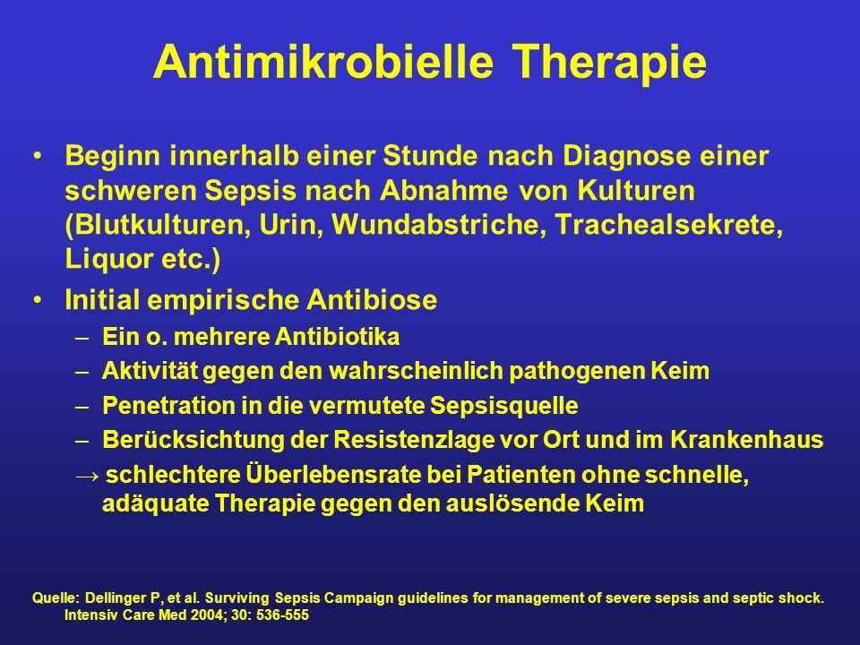 Antimikrobielle Therapie Beginn innerhalb einer Stunde nach Diagnose einer schweren Sepsis nach Abnahme von Kulturen (Blutkulturen, Urin, Wundabstrich