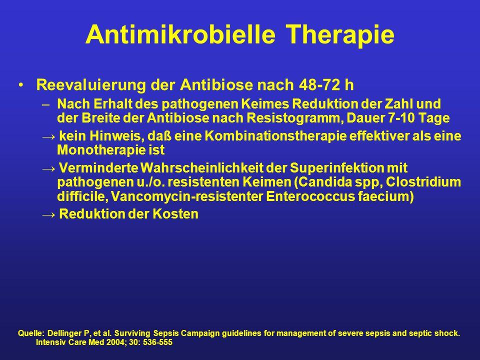 Antimikrobielle Therapie Reevaluierung der Antibiose nach 48-72 h –Nach Erhalt des pathogenen Keimes Reduktion der Zahl und der Breite der Antibiose n