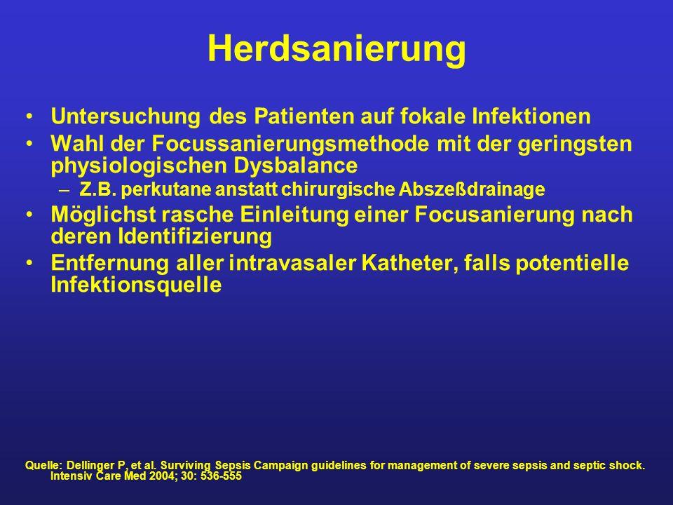 Herdsanierung Untersuchung des Patienten auf fokale Infektionen Wahl der Focussanierungsmethode mit der geringsten physiologischen Dysbalance –Z.B. pe