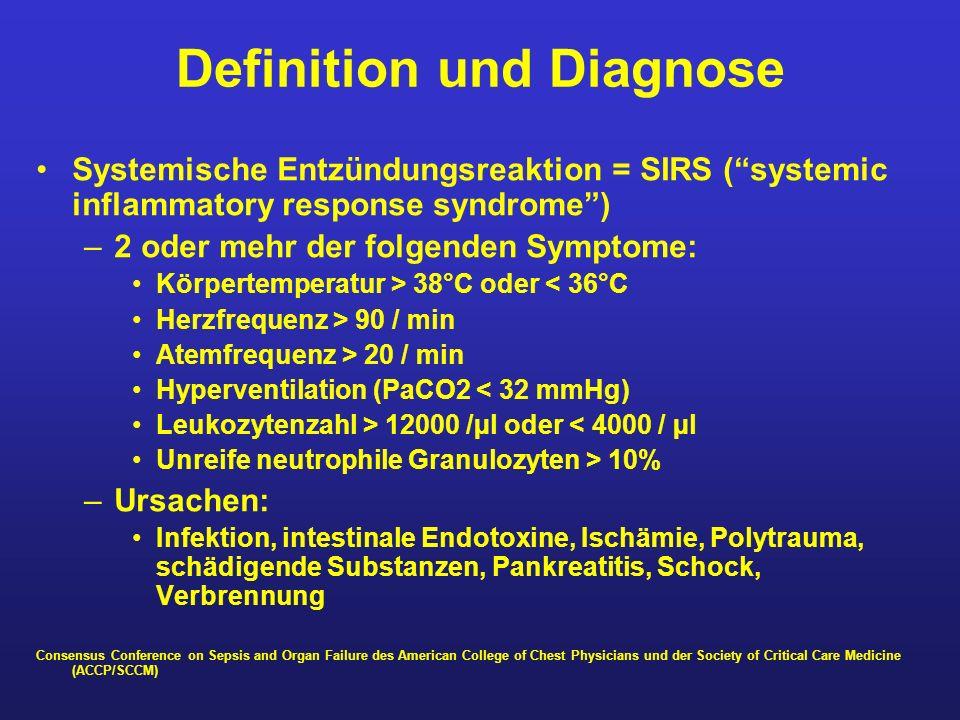 Definition und Diagnose Systemische Entzündungsreaktion = SIRS (systemic inflammatory response syndrome) –2 oder mehr der folgenden Symptome: Körperte