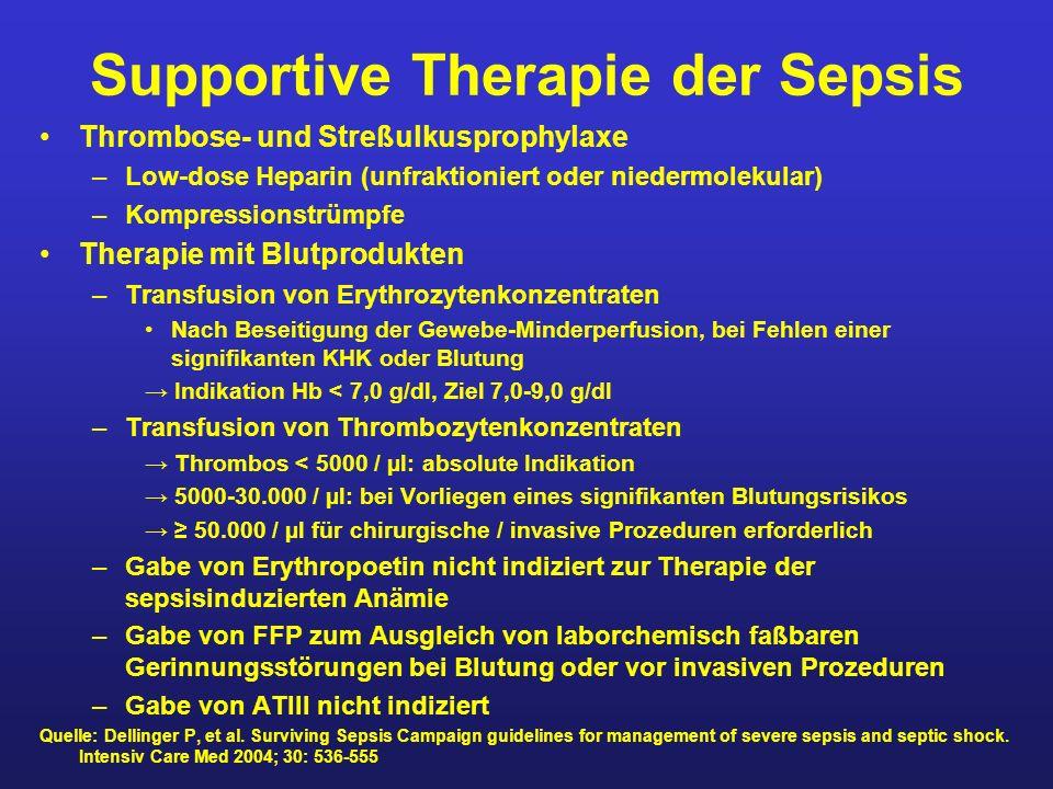 Supportive Therapie der Sepsis Thrombose- und Streßulkusprophylaxe –Low-dose Heparin (unfraktioniert oder niedermolekular) –Kompressionstrümpfe Therap