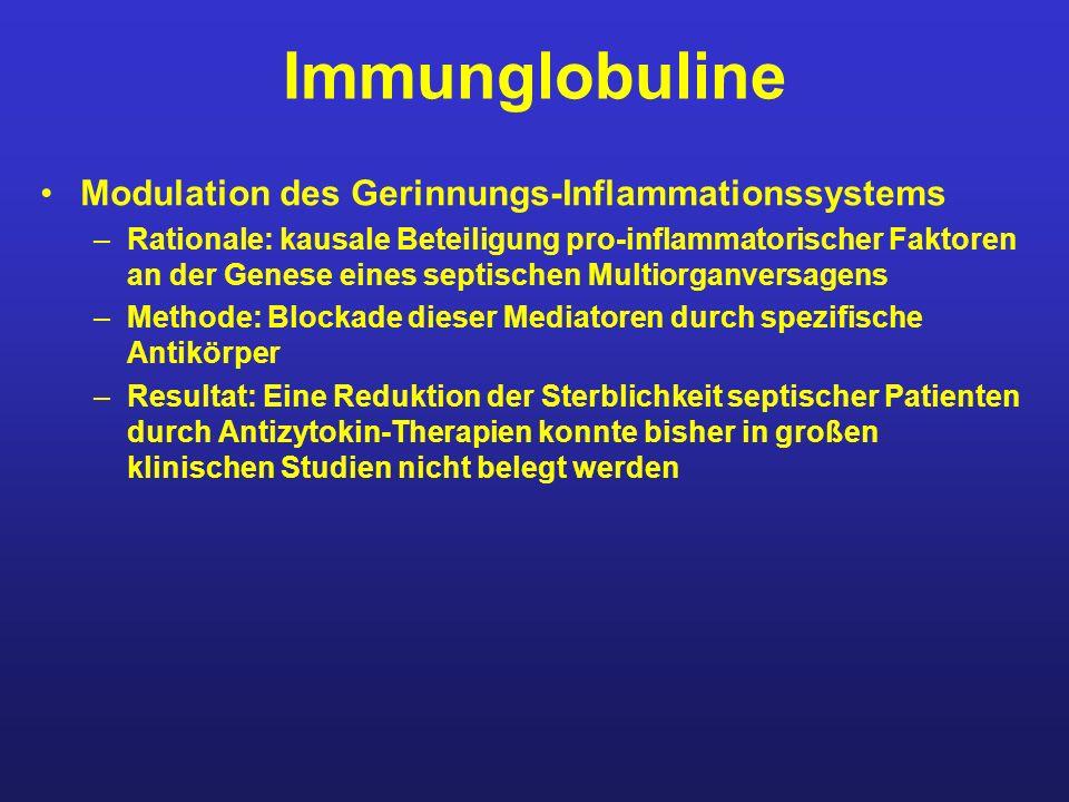 Immunglobuline Modulation des Gerinnungs-Inflammationssystems –Rationale: kausale Beteiligung pro-inflammatorischer Faktoren an der Genese eines septi