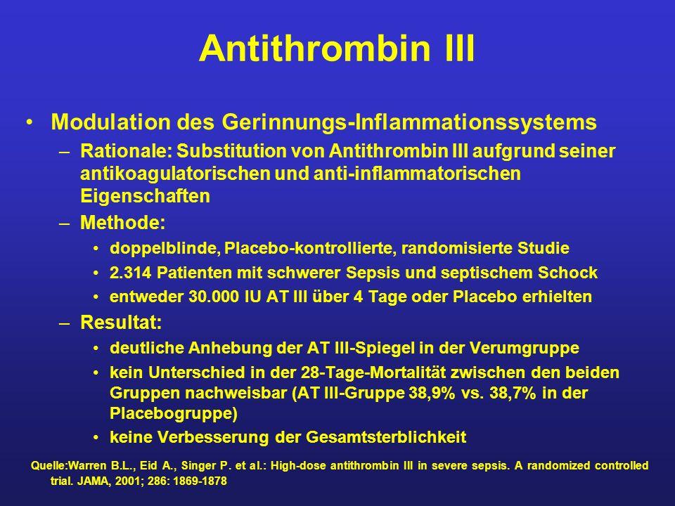 Antithrombin III Modulation des Gerinnungs-Inflammationssystems –Rationale: Substitution von Antithrombin III aufgrund seiner antikoagulatorischen und