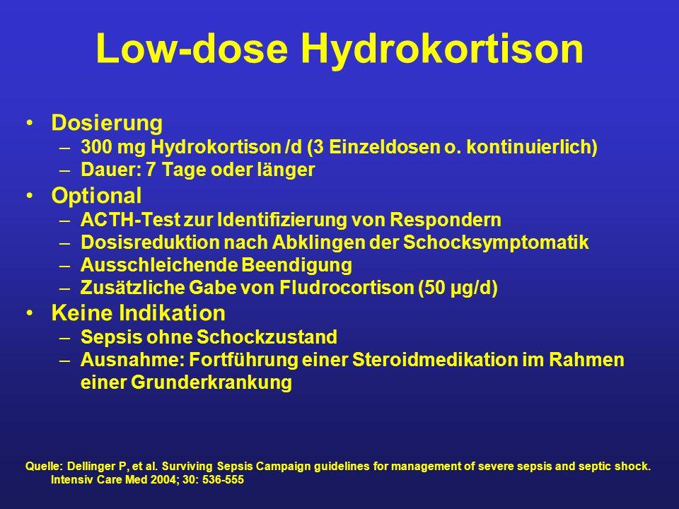 Low-dose Hydrokortison Dosierung –300 mg Hydrokortison /d (3 Einzeldosen o. kontinuierlich) –Dauer: 7 Tage oder länger Optional –ACTH-Test zur Identif