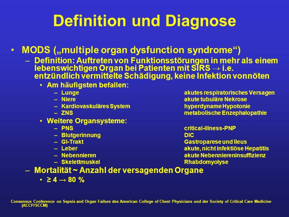 Definition und Diagnose MODS (multiple organ dysfunction syndrome) –Definition: Auftreten von Funktionsstörungen in mehr als einem lebenswichtigen Org