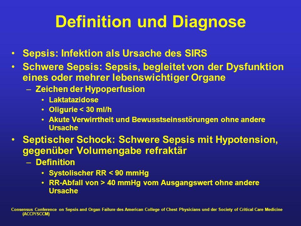 Definition und Diagnose Sepsis: Infektion als Ursache des SIRS Schwere Sepsis: Sepsis, begleitet von der Dysfunktion eines oder mehrer lebenswichtiger
