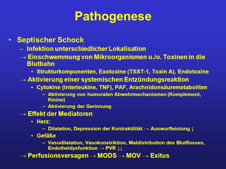 Pathogenese Septischer Schock –Infektion unterschiedlicher Lokalisation Einschwemmung von Mikroorganismen u./o. Toxinen in die Blutbahn Strukturkompon