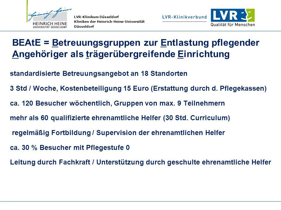 LVR-Klinikum Düsseldorf Kliniken der Heinrich-Heine-Universität Düsseldorf BEAtE = Betreuungsgruppen zur Entlastung pflegender Angehöriger als trägerü