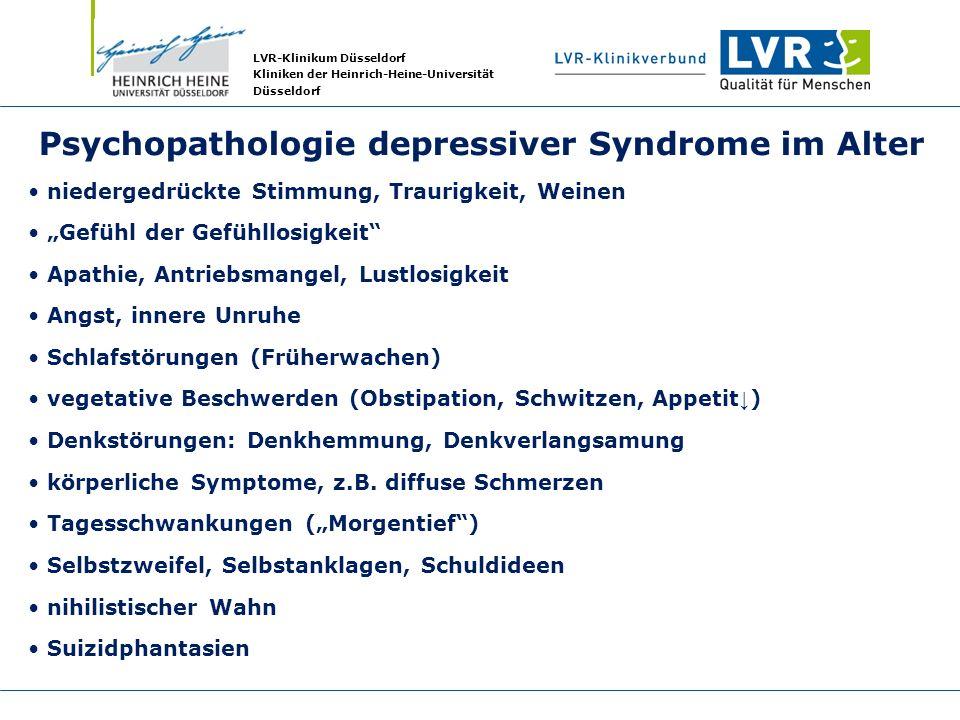 LVR-Klinikum Düsseldorf Kliniken der Heinrich-Heine-Universität Düsseldorf Psychopathologie depressiver Syndrome im Alter niedergedrückte Stimmung, Tr