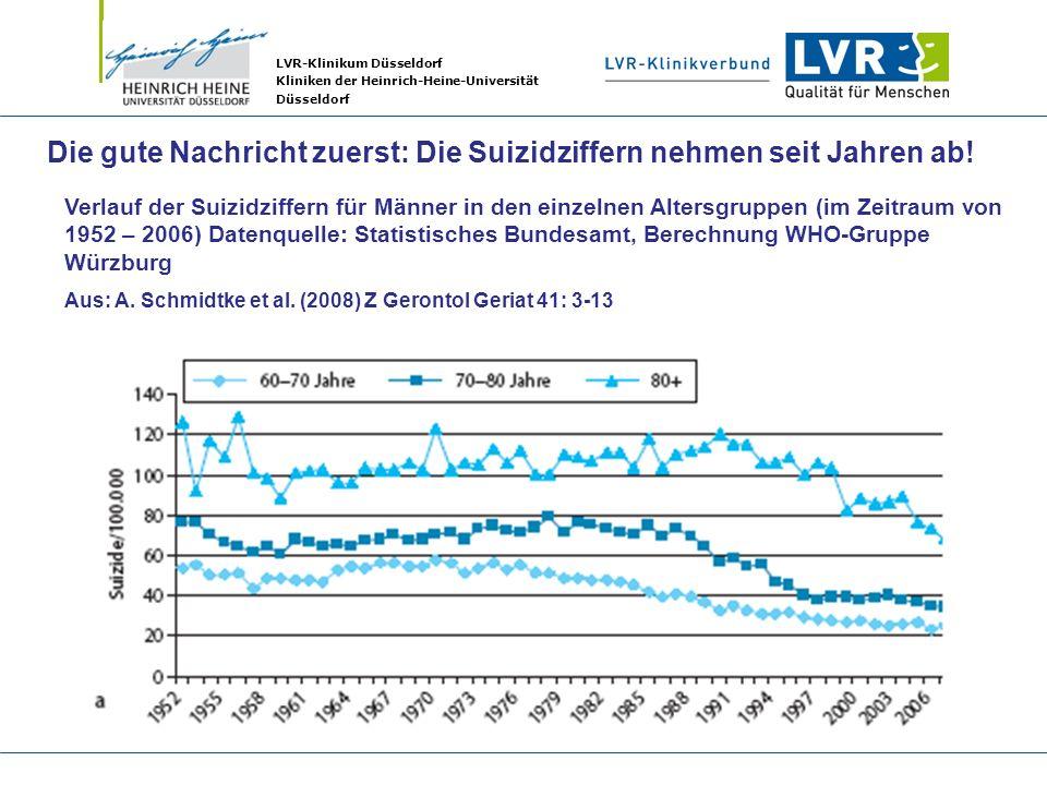 LVR-Klinikum Düsseldorf Kliniken der Heinrich-Heine-Universität Düsseldorf Verlauf der Suizidziffern für Männer in den einzelnen Altersgruppen (im Zei