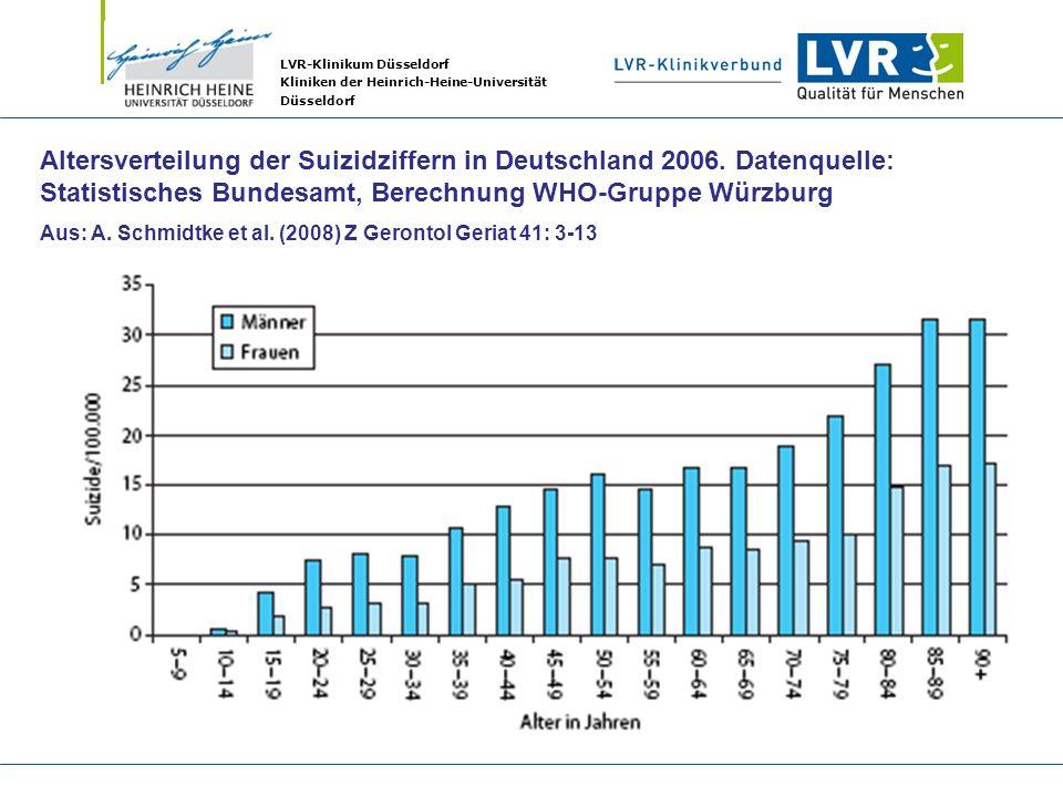 LVR-Klinikum Düsseldorf Kliniken der Heinrich-Heine-Universität Düsseldorf Altersverteilung der Suizidziffern in Deutschland 2006. Datenquelle: Statis