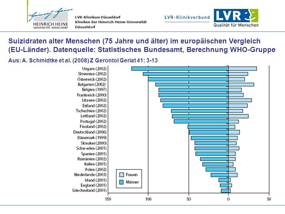 LVR-Klinikum Düsseldorf Kliniken der Heinrich-Heine-Universität Düsseldorf Suizidraten alter Menschen (75 Jahre und älter) im europäischen Vergleich (