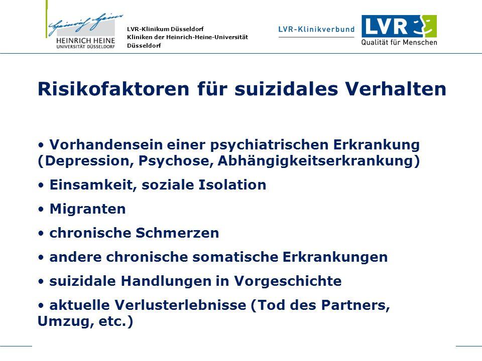 LVR-Klinikum Düsseldorf Kliniken der Heinrich-Heine-Universität Düsseldorf Risikofaktoren für suizidales Verhalten Vorhandensein einer psychiatrischen