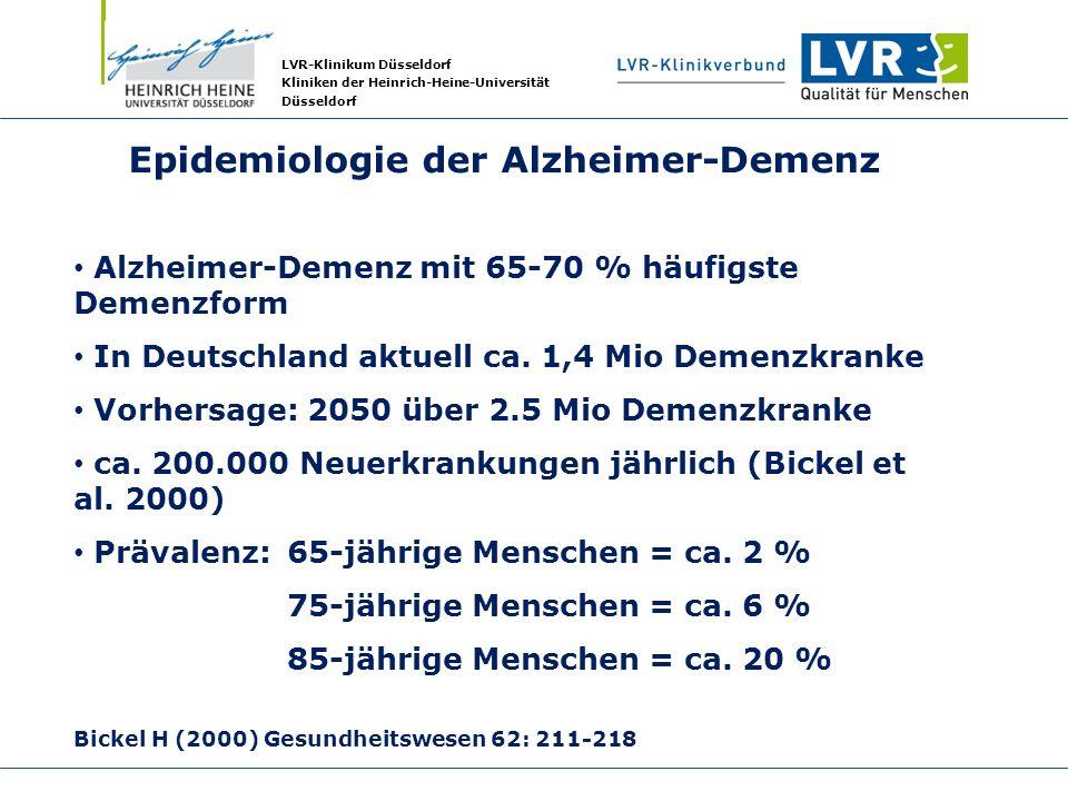 LVR-Klinikum Düsseldorf Kliniken der Heinrich-Heine-Universität Düsseldorf Epidemiologie der Alzheimer-Demenz Alzheimer-Demenz mit 65-70 % häufigste D