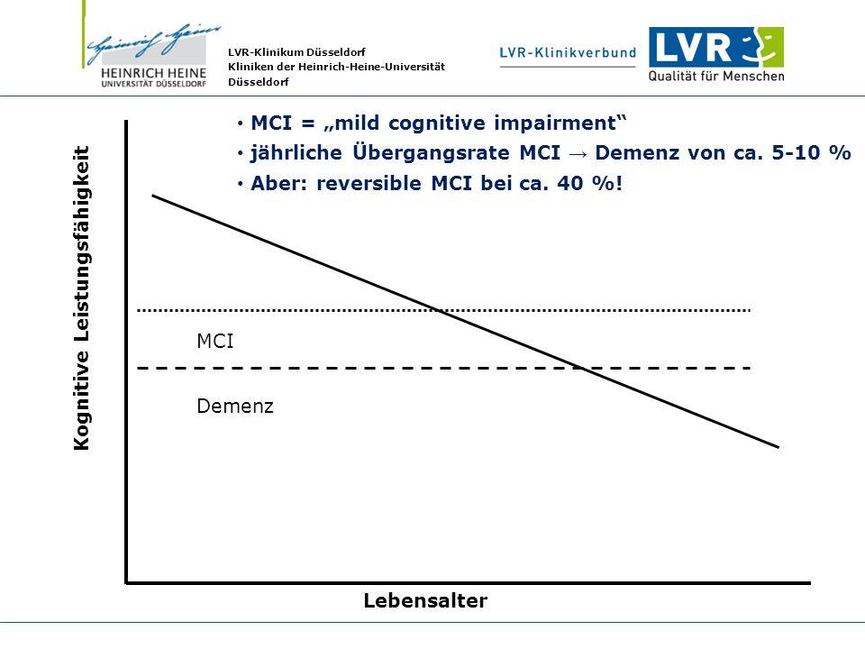 LVR-Klinikum Düsseldorf Kliniken der Heinrich-Heine-Universität Düsseldorf Kognitive Leistungsfähigkeit Lebensalter MCI Demenz MCI = mild cognitive im