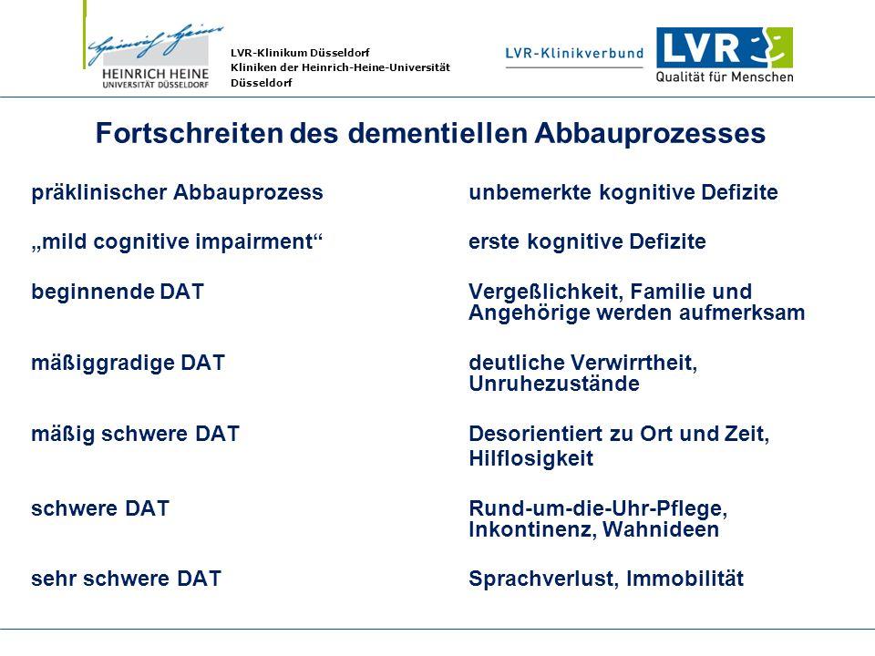 LVR-Klinikum Düsseldorf Kliniken der Heinrich-Heine-Universität Düsseldorf Fortschreiten des dementiellen Abbauprozesses präklinischer Abbauprozessunb