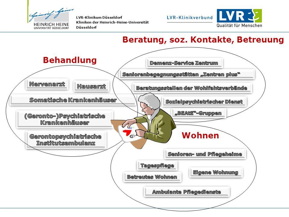 LVR-Klinikum Düsseldorf Kliniken der Heinrich-Heine-Universität Düsseldorf Wohnen Beratung, soz. Kontakte, Betreuung Behandlung