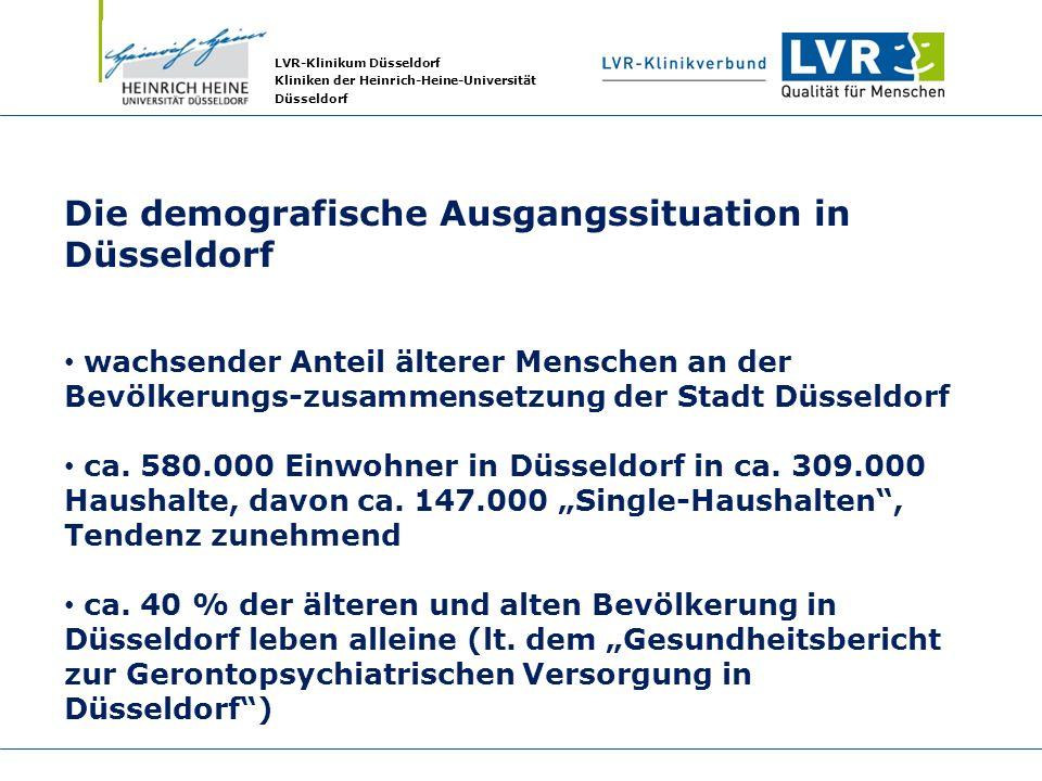 LVR-Klinikum Düsseldorf Kliniken der Heinrich-Heine-Universität Düsseldorf Die demografische Ausgangssituation in Düsseldorf wachsender Anteil älterer