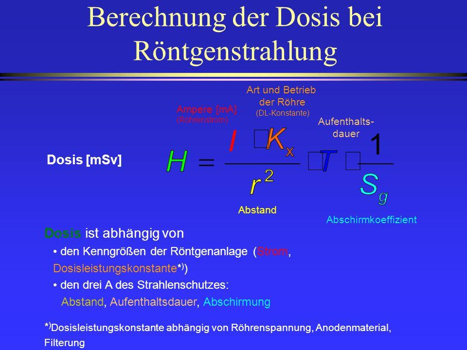 Berechnung der Dosis bei Röntgenstrahlung Dosis ist abhängig von den Kenngrößen der Röntgenanlage (Strom, Dosisleistungskonstante* ) ) den drei A des