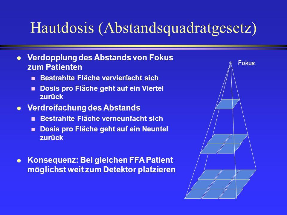 Hautdosis (Abstandsquadratgesetz) Fokus l Verdopplung des Abstands von Fokus zum Patienten n Bestrahlte Fläche vervierfacht sich n Dosis pro Fläche ge