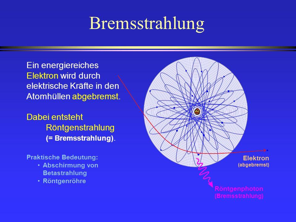 Bremsstrahlung Ein energiereiches Elektron wird durch elektrische Kräfte in den Atomhüllen abgebremst. Dabei entsteht Röntgenstrahlung (= Bremsstrahlu