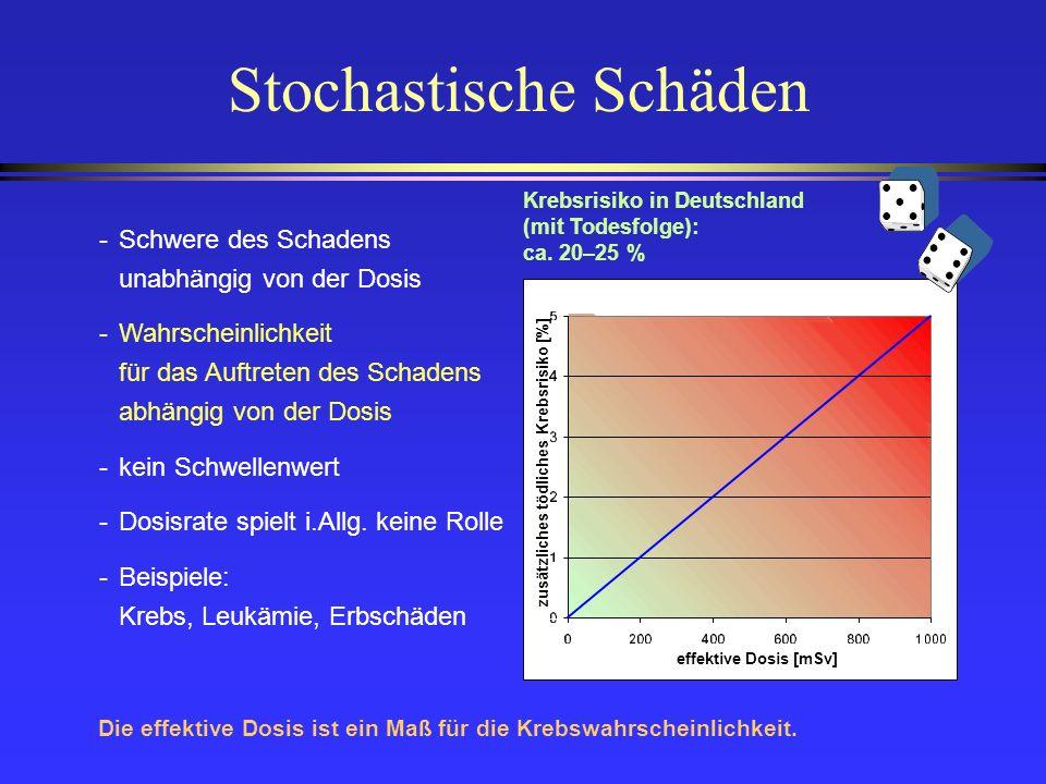 Stochastische Schäden -Schwere des Schadens unabhängig von der Dosis -Wahrscheinlichkeit für das Auftreten des Schadens abhängig von der Dosis -kein S