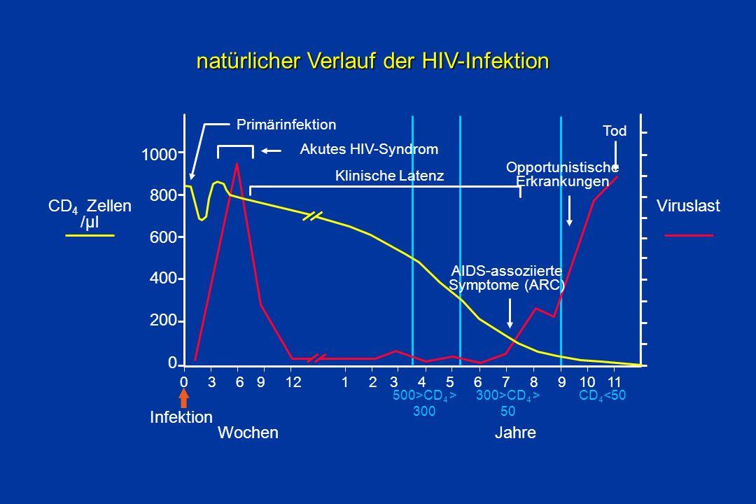 natürlicher Verlauf der HIV-Infektion natürlicher Verlauf der HIV-Infektion CD 4 Zellen /µl Viruslast 1000 800 600 400 200 0 0369121234567891011 CD 4