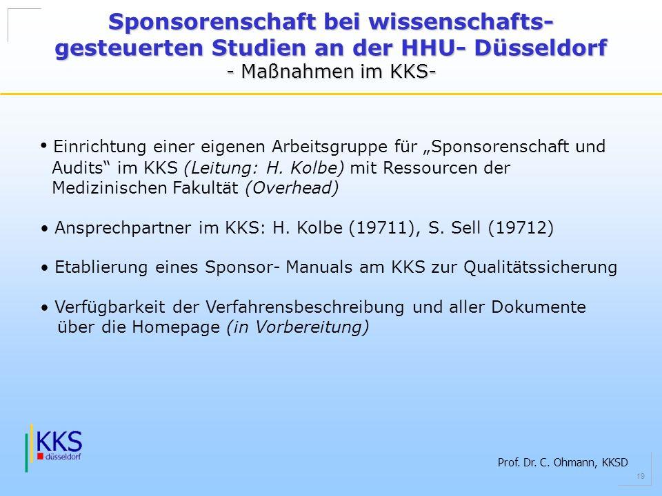 Prof. Dr. C. Ohmann, KKSD 19 Sponsorenschaft bei wissenschafts- gesteuerten Studien an der HHU- Düsseldorf - Maßnahmen im KKS- Einrichtung einer eigen