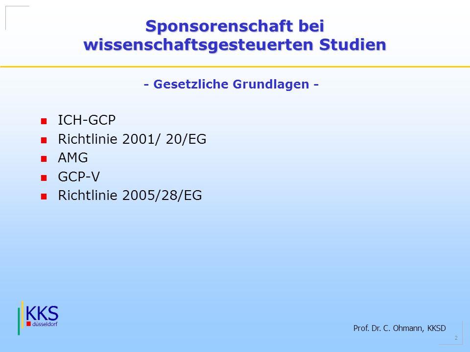Prof. Dr. C. Ohmann, KKSD 2 ICH-GCP Richtlinie 2001/ 20/EG AMG GCP-V Richtlinie 2005/28/EG Sponsorenschaft bei wissenschaftsgesteuerten Studien - Gese