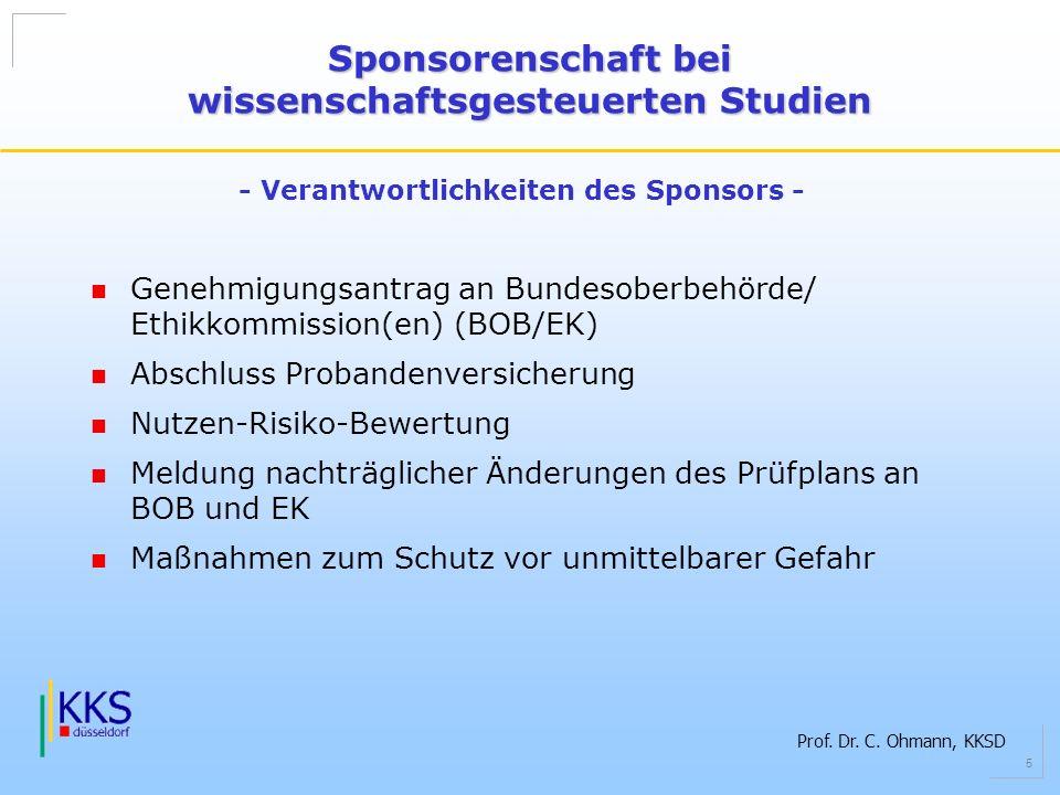 Prof. Dr. C. Ohmann, KKSD 5 Genehmigungsantrag an Bundesoberbehörde/ Ethikkommission(en) (BOB/EK) Abschluss Probandenversicherung Nutzen-Risiko-Bewert