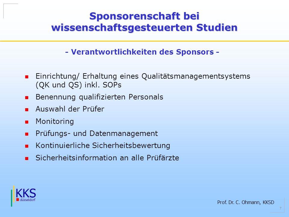 Prof. Dr. C. Ohmann, KKSD 7 Einrichtung/ Erhaltung eines Qualitätsmanagementsystems (QK und QS) inkl. SOPs Benennung qualifizierten Personals Auswahl