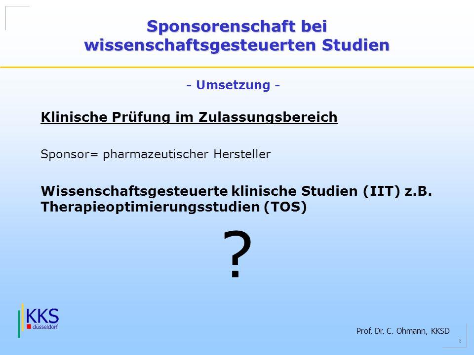 Prof. Dr. C. Ohmann, KKSD 8 Klinische Prüfung im Zulassungsbereich Sponsor= pharmazeutischer Hersteller Wissenschaftsgesteuerte klinische Studien (IIT