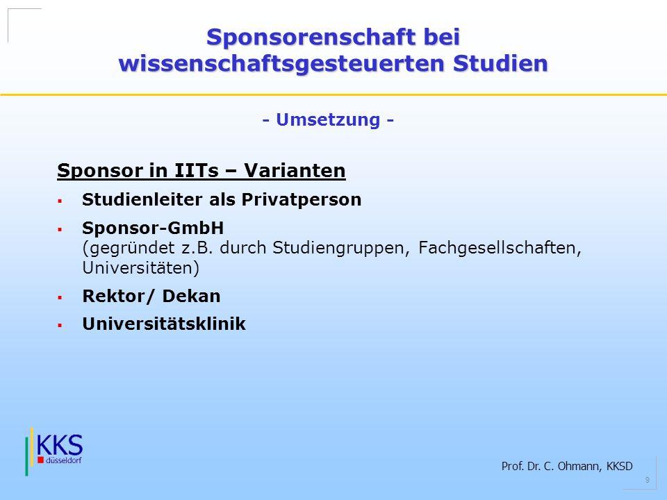 Prof. Dr. C. Ohmann, KKSD 9 Sponsor in IITs – Varianten Studienleiter als Privatperson Sponsor-GmbH (gegründet z.B. durch Studiengruppen, Fachgesellsc